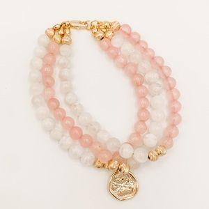 3 strand pink and white moonstone bracelet